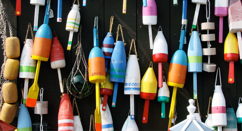 Lobster buoys in Maine, USA